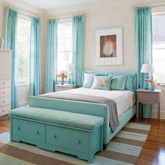 Пример комбинирования цветов в Бирюзовой спальне