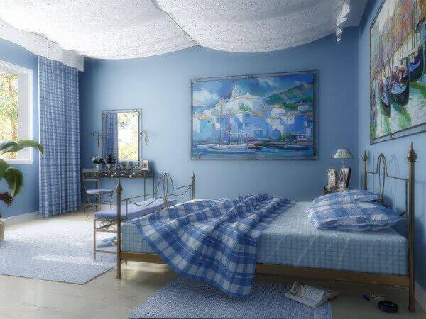 Спальная комната в голубом цвете