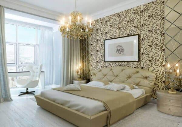 Акцентная стена у изголовья кровати – оригинальное комбинирование