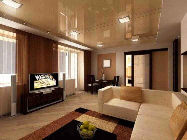 Дизайн потолка в гостиной
