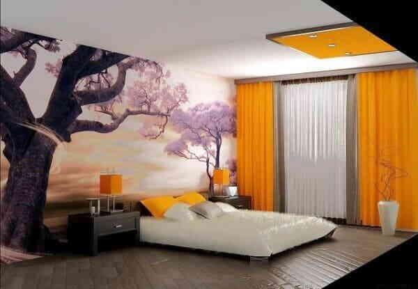 Необычный спальный интерьер
