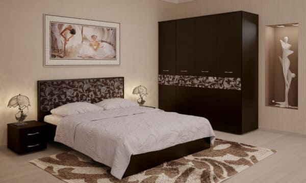 Интерьер спальной комнаты со шкафом