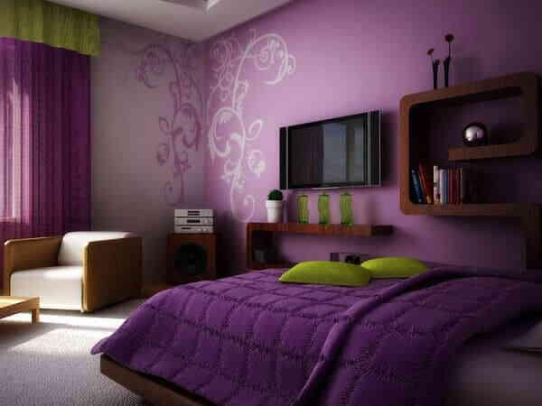 Мужская спальня в фиолетовом цвете