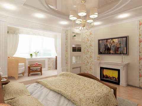 Дизайн спальни, соединённой с балконом