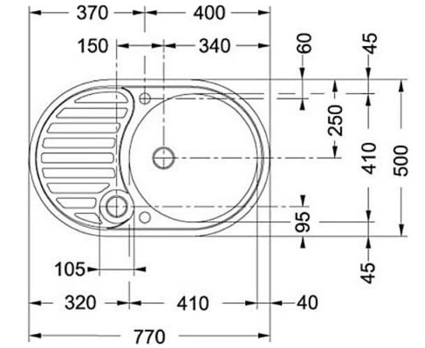 Схема размеров мойки