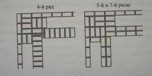 Выкладка прямого угла стенки с трехрядными с диафрагмами 4-5-7 ряды