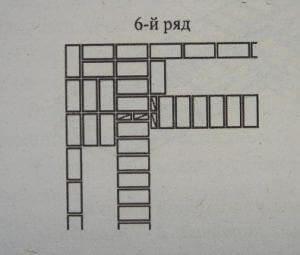 Выкладка прямого угла стенки с трехрядными диаграммами 6 ряд