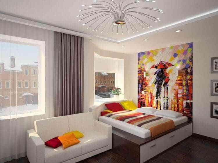 Фото-обои 3D в оформлении спальной комнаты
