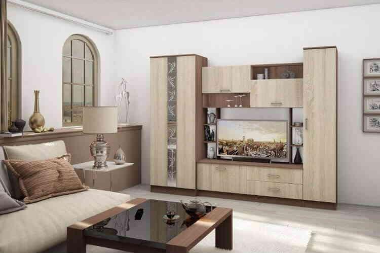 Современная мебельная стенка в гостиной