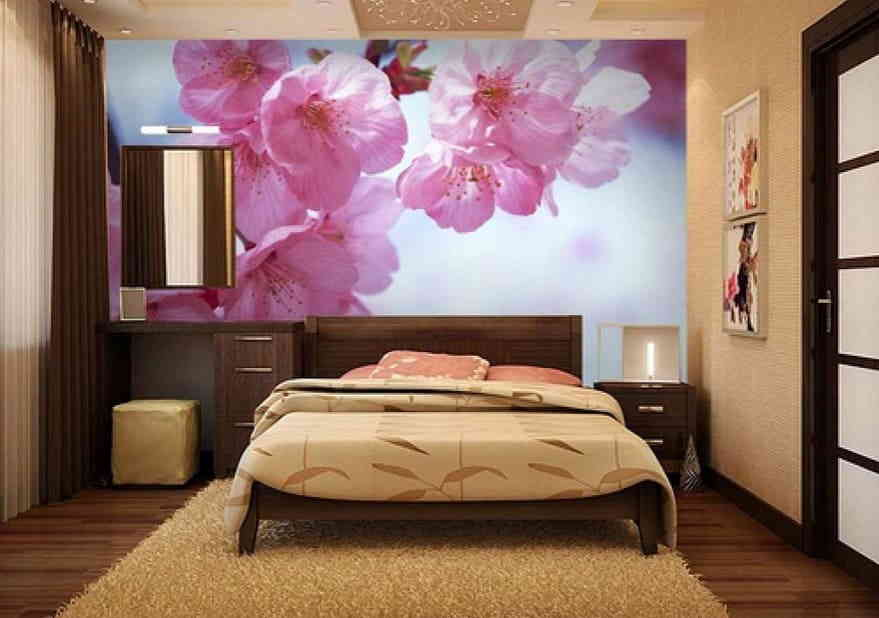 Современный дизайн с яркими фотообоями орхидеи