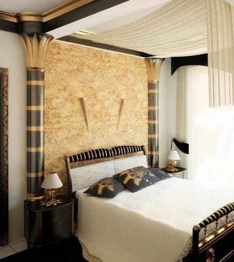 Фото шикарной комнаты для сна в египетском стиле