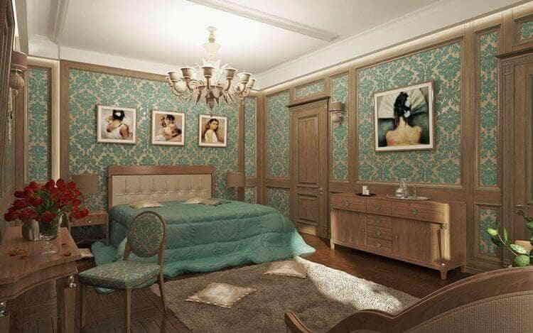 Спальня в шоколадных тонах с бирюзовым оттенком